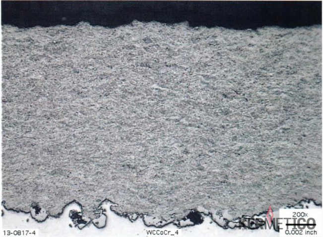 A Micrograph of the HVAF C6 system U-mode Using Propylene Gas to Thermal Spray a Tungsten Carbide Coating: high deposition efficiency, no Gas Permeability at 300 PSI, Hardness 1,650 HV300