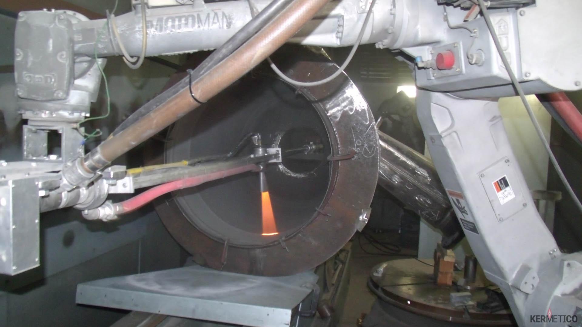 A Kermetico HVAF AK5 Spraying Cemented a Carbide Layer onto a Cyclone Shell