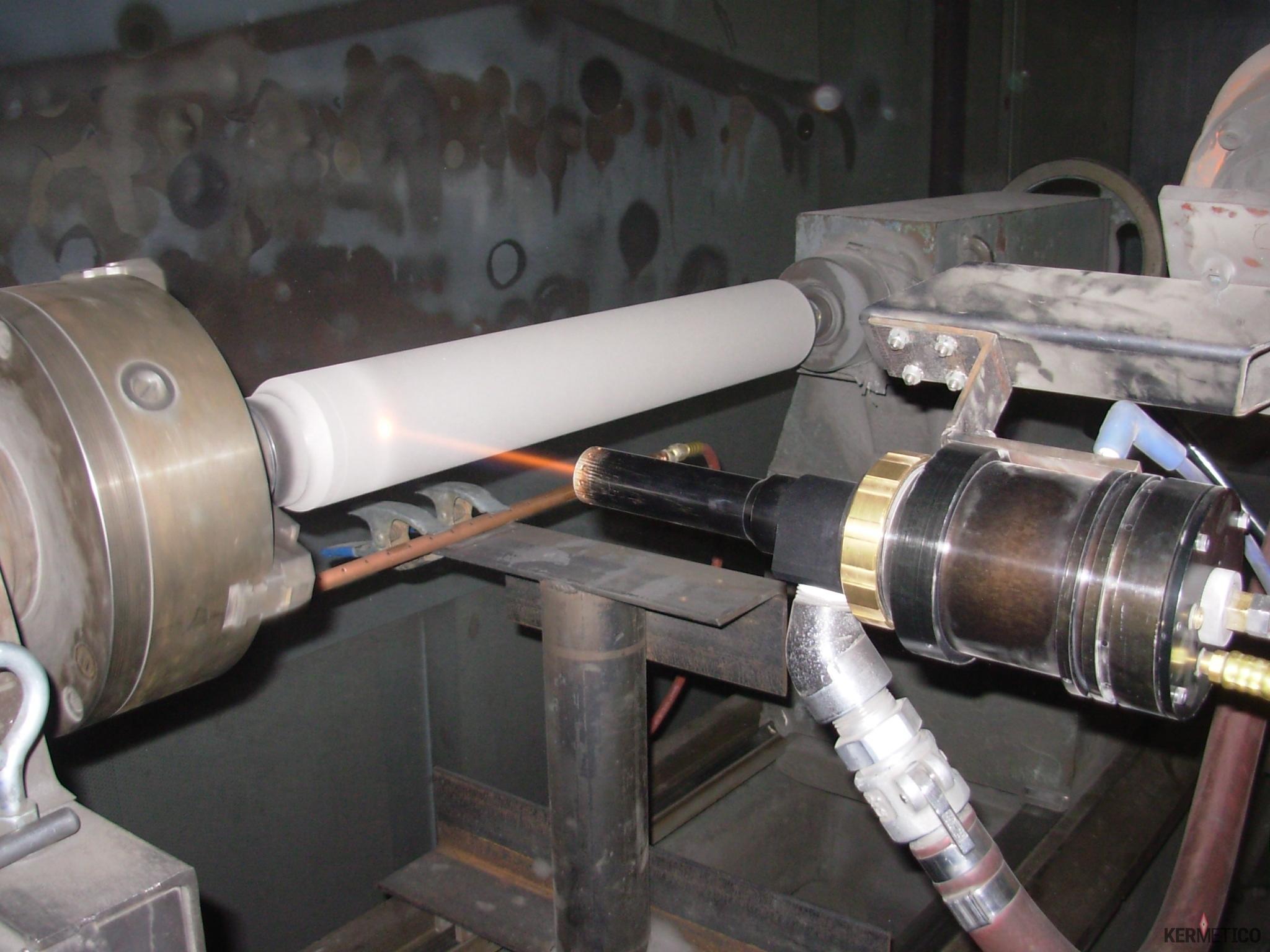 Kermetico HVAF Spraying a Hard Coating onto a Plunger