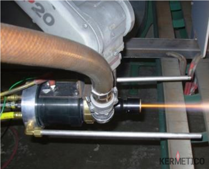 The Kermetico HVAF STi System Spraying a Titanium Coating