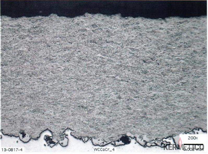 A Micrograph of an HVAF C6 System U-mode Using Propylene Gas to Spray a Tungsten Carbide Coating: No Gas Permeability at 300 PSI, Hardness 1,650 HV300